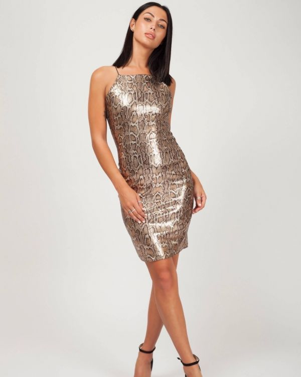 Sarai Leopard Sequin Cami Bodycon Dress In Gold