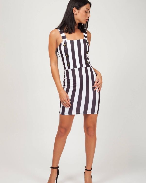 Baylee Wide Stripe Button Front Dress In Black