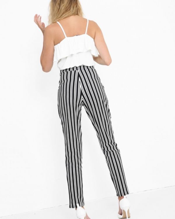 **Kady McDermott** Hillarie Striped Cigarette Trousers In Monochrome