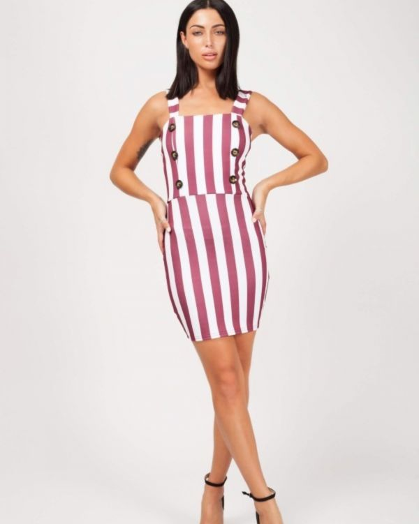 Baylee Wide Stripe Button Front Dress In Wine
