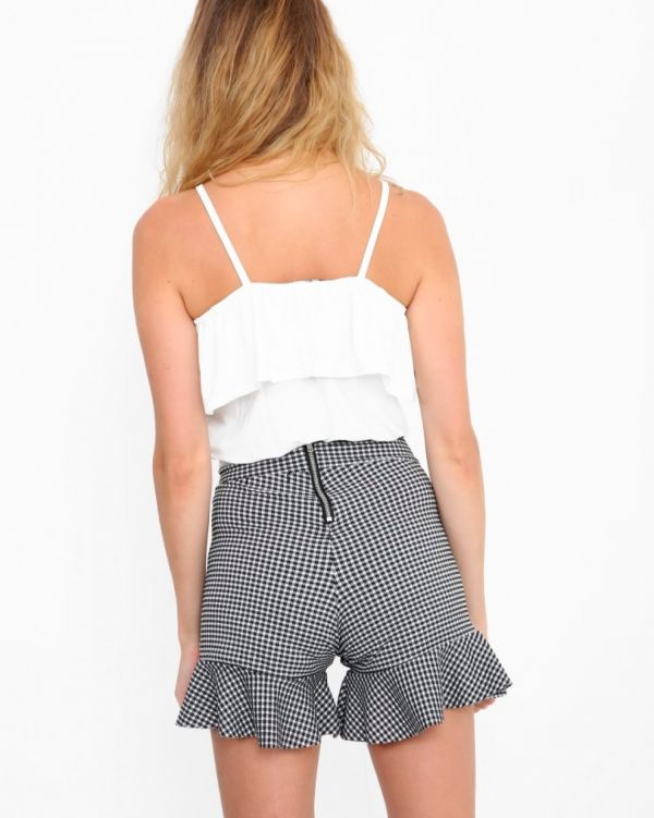 Berelle Gingham Frill Shorts In Monochrome