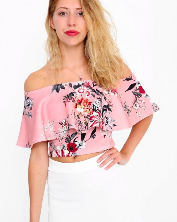 Carmel Floral Bardot Top In Nude