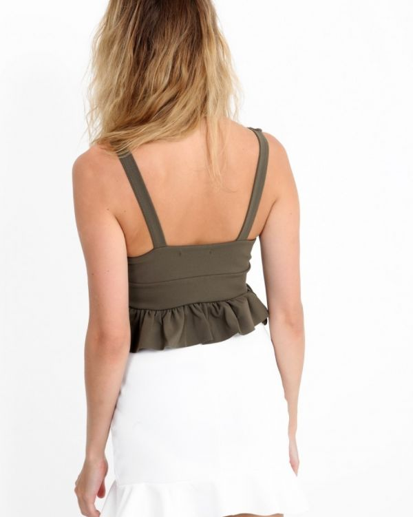 Jazmina Frill Plunge Crop Top In Khaki