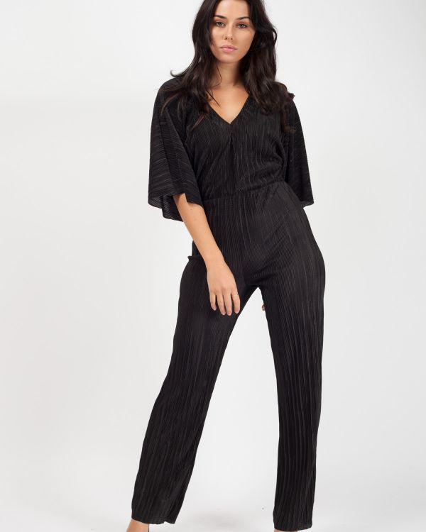 Darby Batwing Sleeve Pleated Jumpsuit In Black