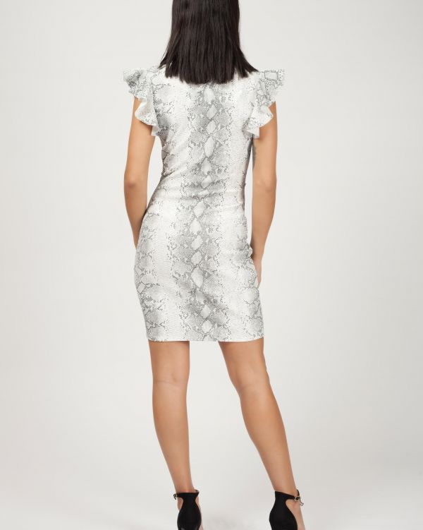 Pari Snake Print Button Detail Knot Front Dress In Stone