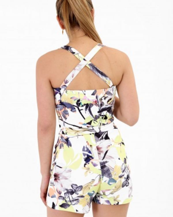 Kalya Cross Back Floral Playsuit In Yellow
