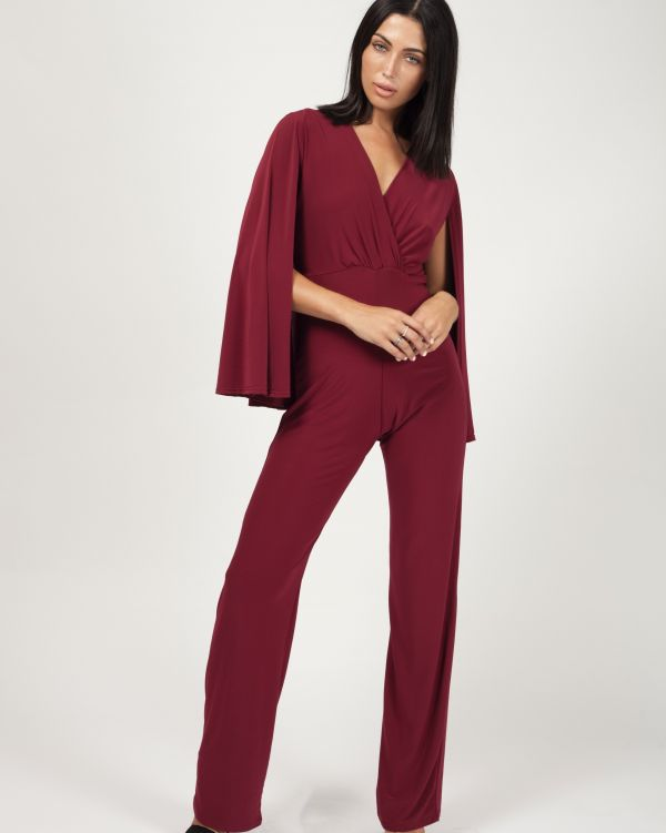 Amani Cape Style Wrap Front Jumpsuit In Wine