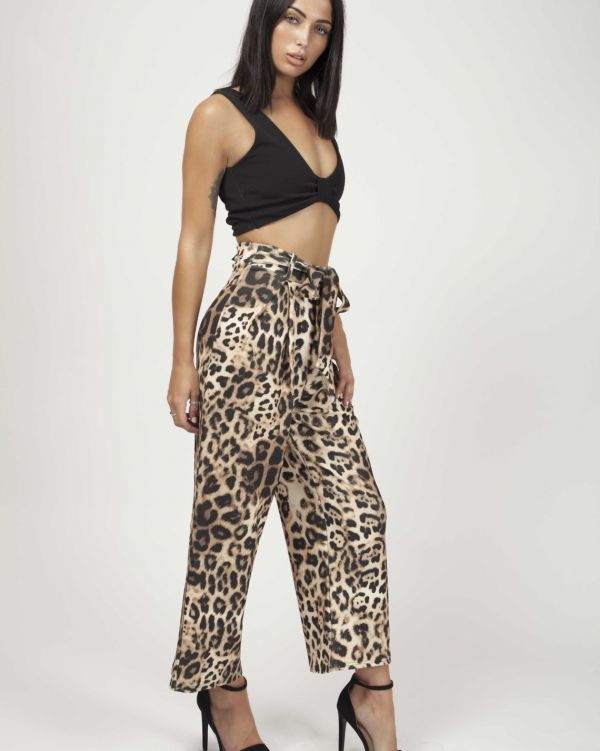 Amora Leopard Print Tie Waist Culotte Trousers In Animal Print