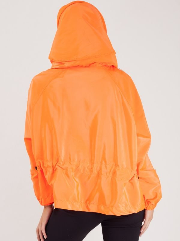 Scarlet Hooded Rain Parka Festival Jacket In Orange