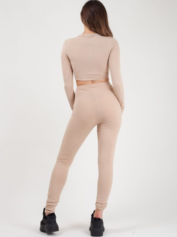 Amelia Ruched Crop Top & Legging Ribbed Co-ord In Stone