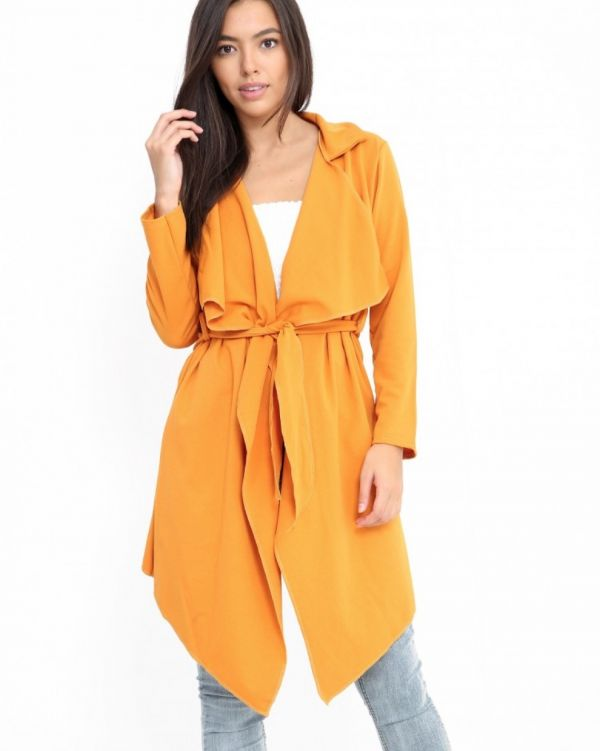 Abella Waterfall Coat In Mustard