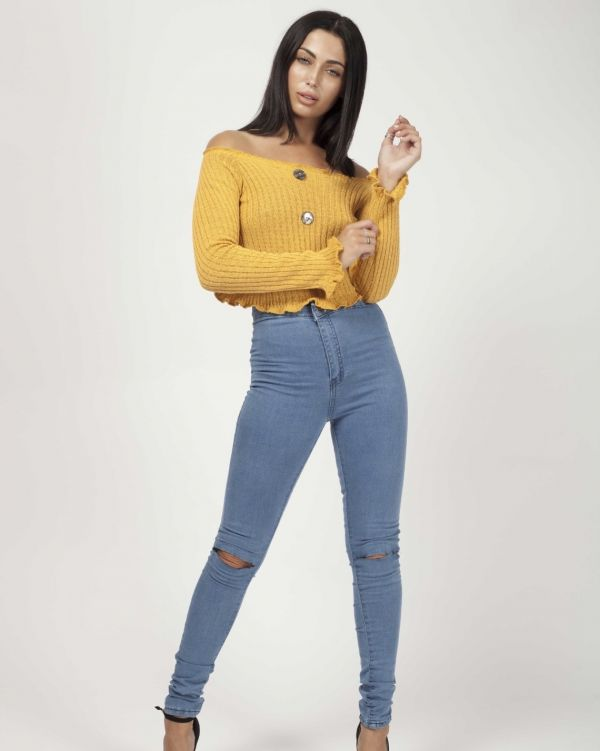 Remy Button Front Knitted Bardot Crop Top In Mustard