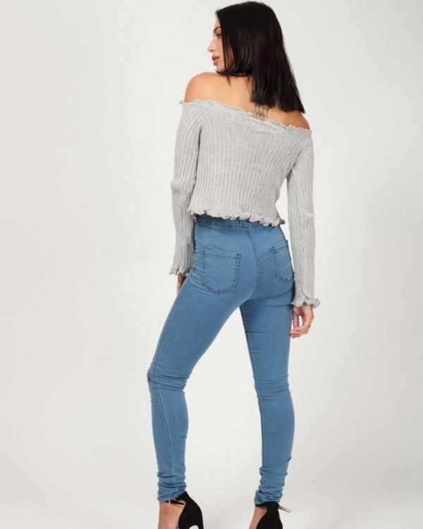 Remy Button Front Knitted Bardot Crop Top In Grey
