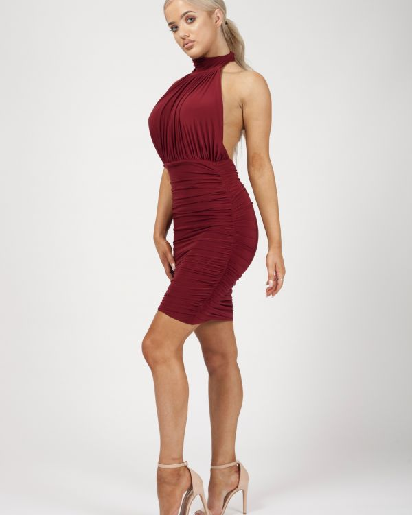 Astrid Open Back Halterneck Ruched Dress In Wine