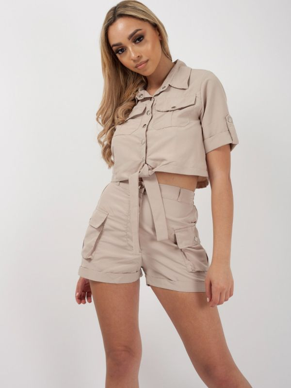 * Olivia Buckland * Haven Cargo Crop Top & Shorts Co-ord In Stone