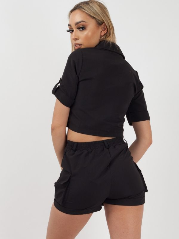 *Lissy Roddy* Haven Cargo Crop Top & Shorts Co-ord In Black