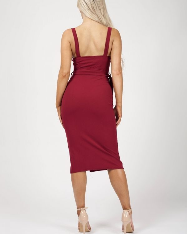 Tessa Button Detail Belted Midi Dress In Wine