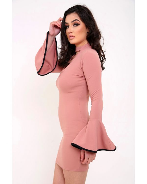 Meaghan Bell Sleeve Choker Bodycon Dress In Rose Gold