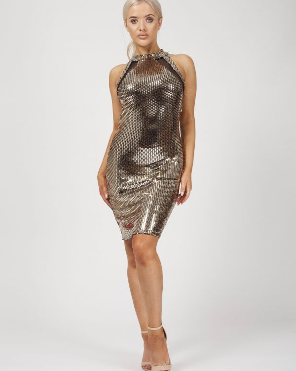 Bailee Mesh Insert Gold Sequin Dress In Gold