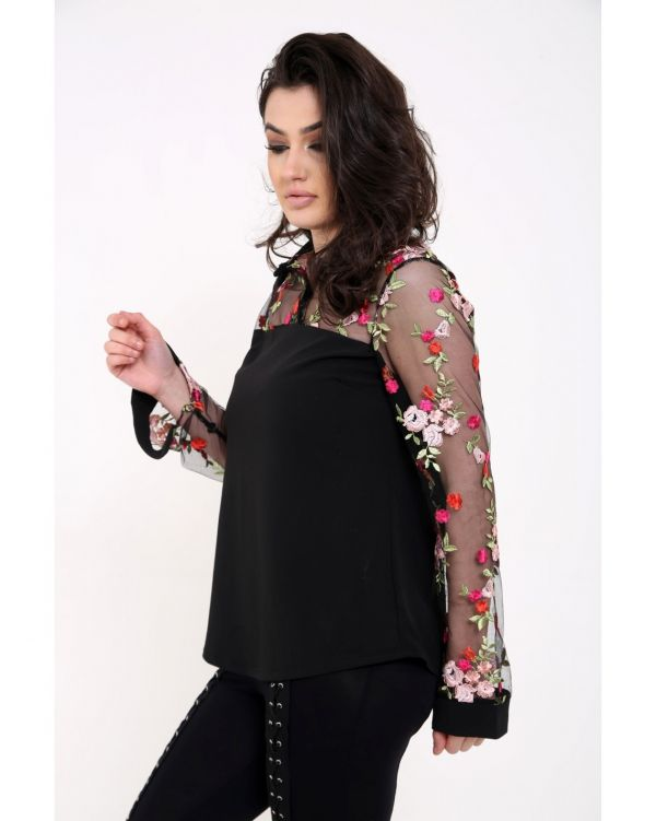 Kimiya Mesh Floral Embroidered Shirt Top In Black