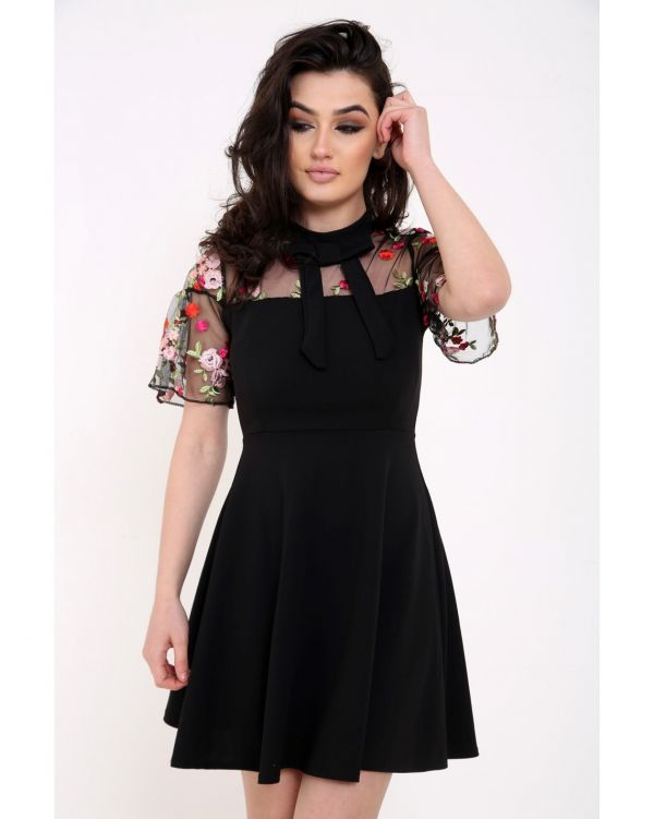 Alessandra Mesh Floral Embroidered Skater Dress In Black
