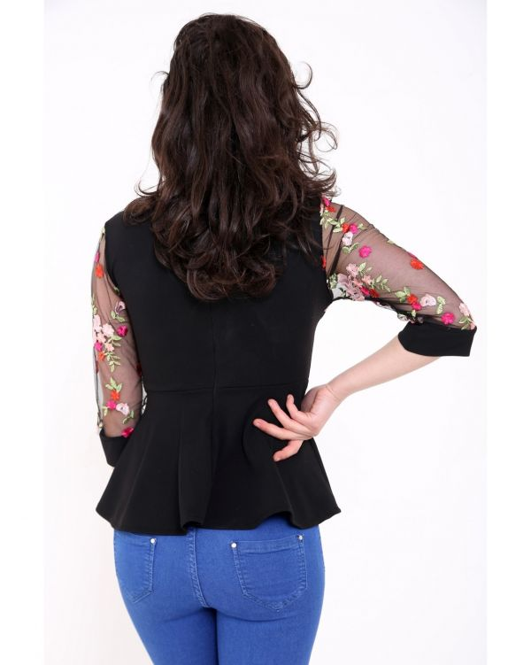 Emmery Mesh Floral Embroidered Peplum Top In Black
