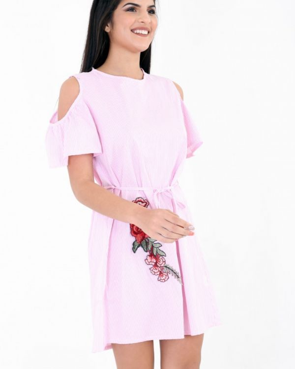 Janie Cold Shoulder Embroidered Stripe Dress In Pink