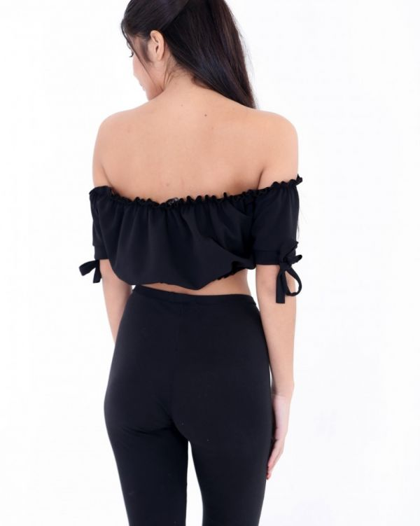 Georgina Ruched Bardot Crop Top In Black
