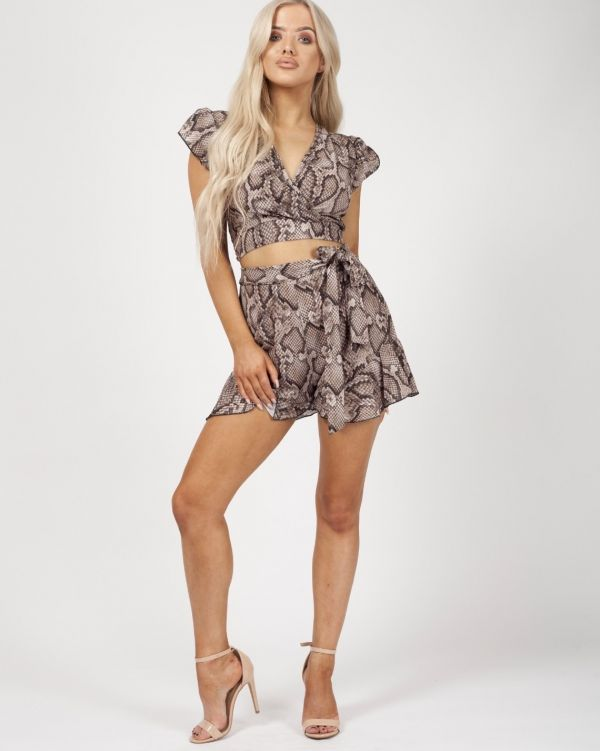 India Snake Print Frill Detail Co-ord In Stone