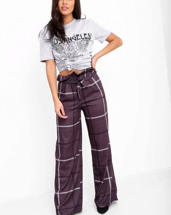 Oliviera Wide Leg Check Trousers In Charcoal