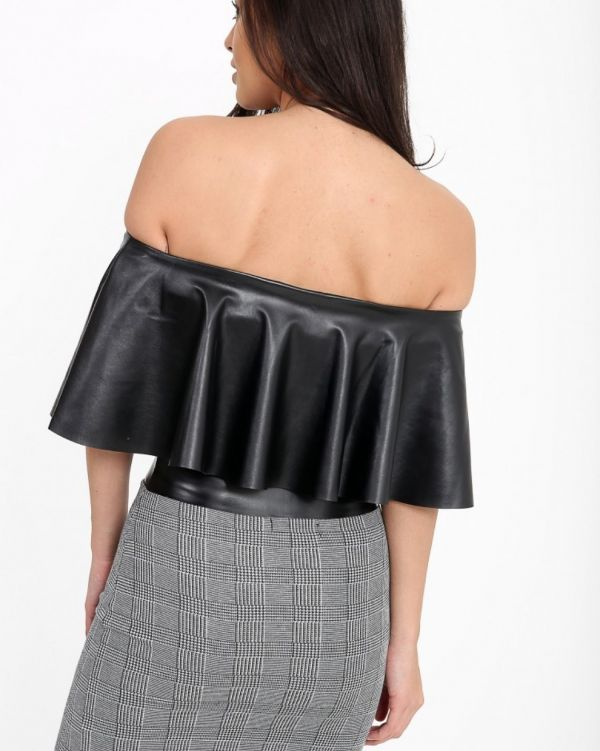 Lizzie PU Bardot Crop Top In Black