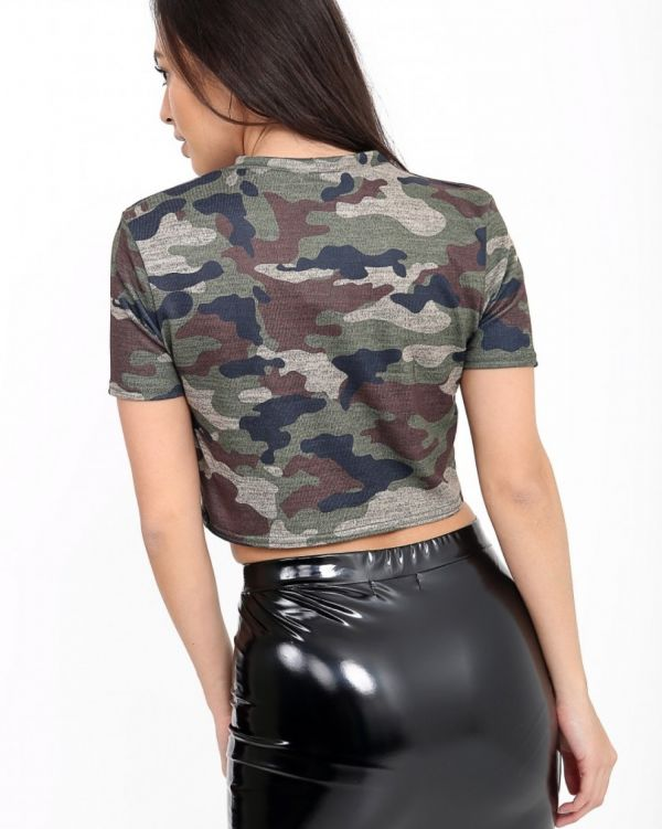 **OLIVIA BUCKLAND** Gianna Glitter Camouflage Print 'Queen' Crop Top In Khaki