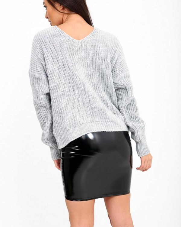 Myleen Twist Knot Knitted Jumper In Grey