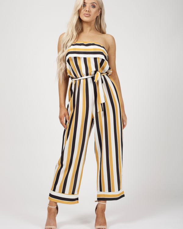 Celia Striped Frill Bandeau Culotte Jumpsuit In Mustard