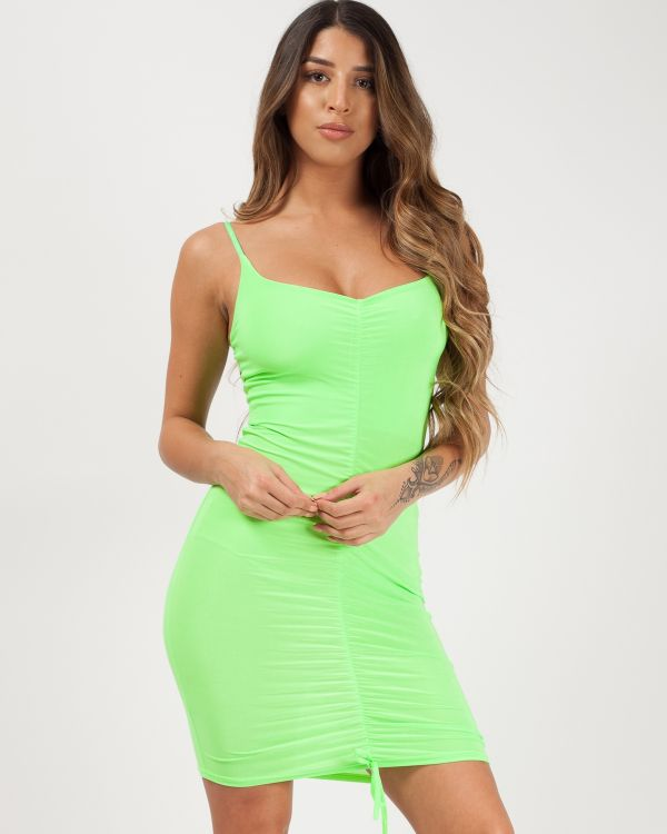 Ava Slinky Ruched Cami Dress in Neon Green