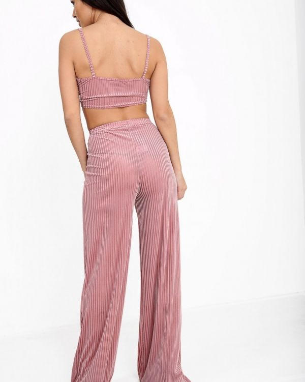 Joyce Ribbed Velvet Co Ord In Rose
