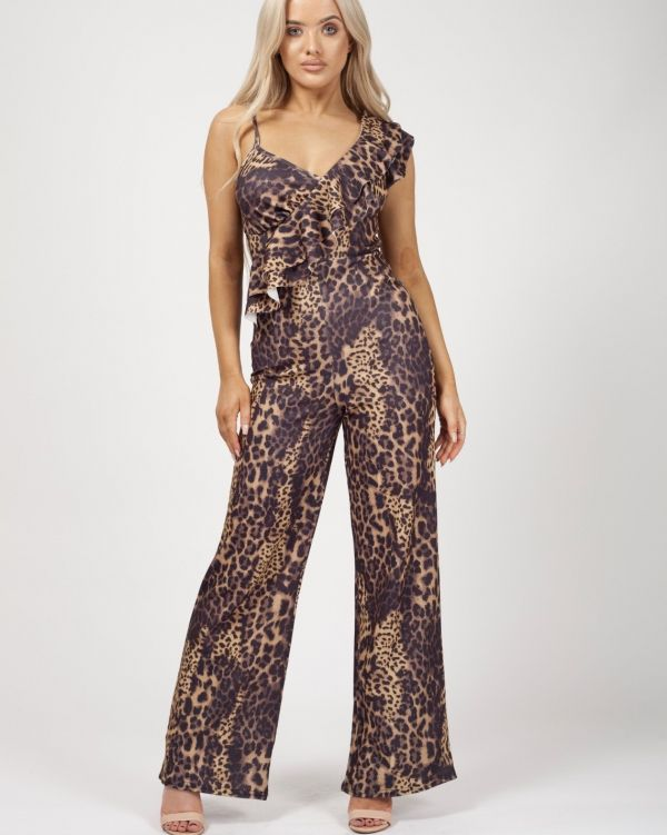Kiran Leopard Print Ruffle Jumpsuit In Brown