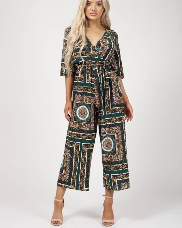 Zaylee Baroque Print Wrap Front Culotte Jumpsuit In Green