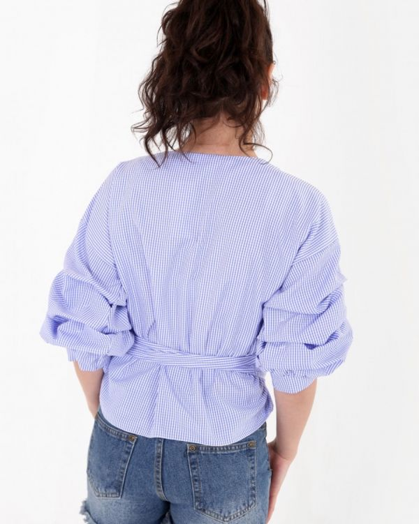 Rienh Wrap Over Gingham Blouse In Blue