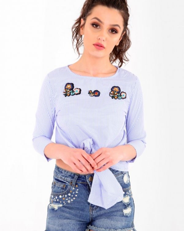 Nadia Button Back Embroidered Striped Top