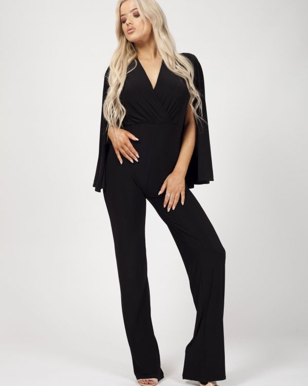 Amani Cape Style Wrap Front Jumpsuit In black