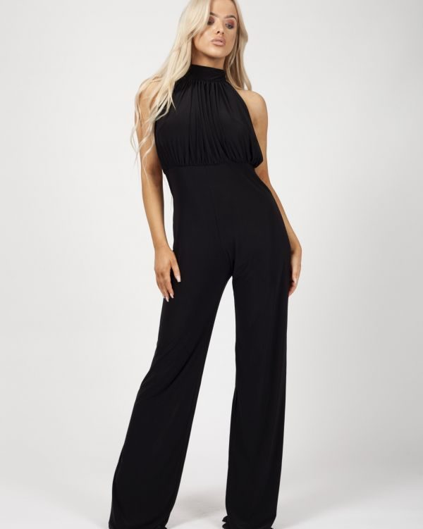 *Rosie Williams* Verity Open Back Halterneck Ruched Jumpsuit In Black