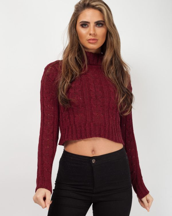Cindy Roll Neck Cable Knit Cropped Jumper In Wine