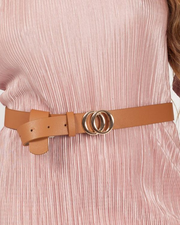 Karima Small Double Circle Buckle Belt In Tan
