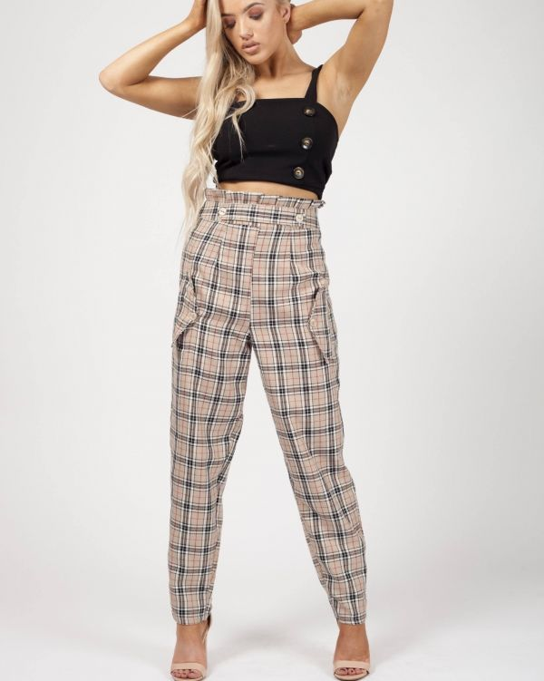 Raya Paper Bag Waist Checked Culotte In Beige