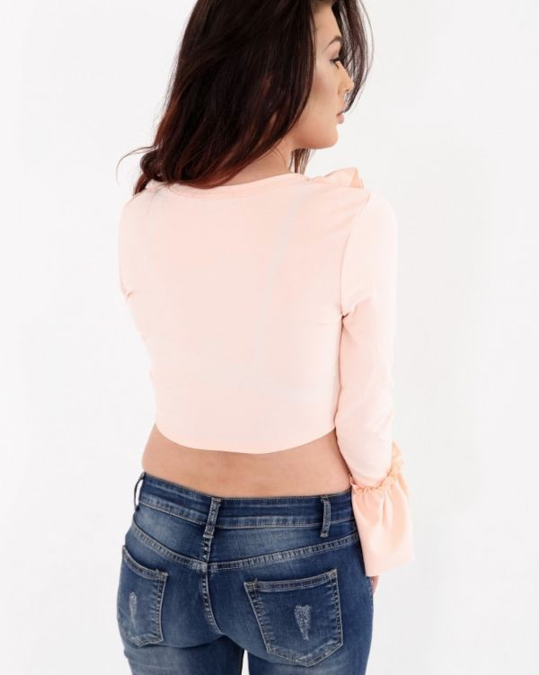 Maroy Frill Crop Top In Nude