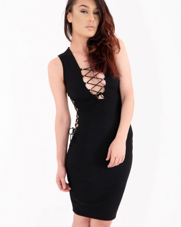 Castor Eyelet Bodycon Dress In Black