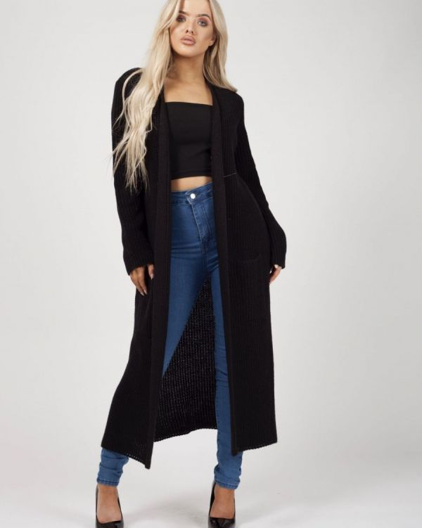 Leeka Longline Knitted Open Cardigan In Black