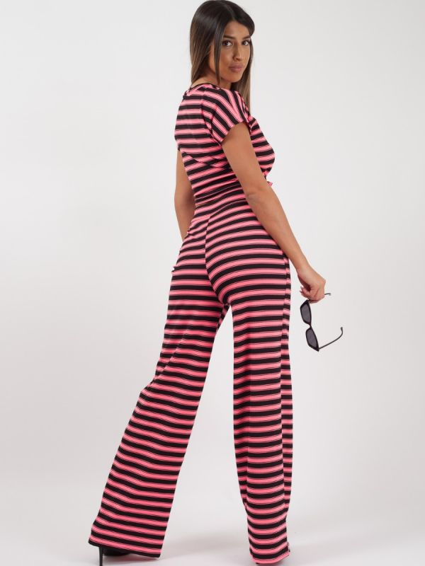 Selcan Striped Ribbed Crop Top & Trouser Co-ord In Neon Pink