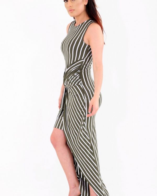 Palia Knot Striped Maxi Dress In Khaki